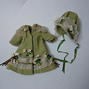 REDUCED Gorgeous tiny french Bebe Couturier Coat Hat for antique Bleuette sized doll