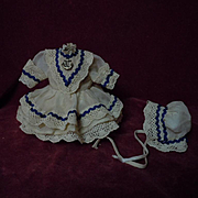 Lovely sailor organza  Dress Petticoat Bonnet for tiny cabinet sized doll