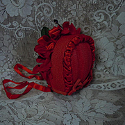 SOLD Gorgeous Red soft straw silk doll Hat  poppies for antique german french bisque doll