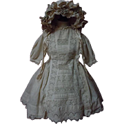 Original Antique 19th century beige cotton Dress w/ Petticoat Hat for german french bisque dol