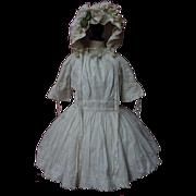 SOLD Original Antique white work batiste Dress w/ Petticoat Hat for german french huge bisque