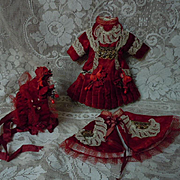 Gorgeous red velvet french Bebe Couturier Costume Dress w/ Petticoat Capelet Hat for antique c