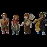SOLD Gorgeous Antique Set 4 miniature german bisque dolls All Original clothes