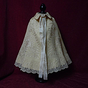 Antique Victorian Woolen Cape exquisite pure silk details for bisque or wax doll