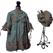 Beautiful Old aqua green taffeta Dress Slip Bonnet for antique german bisque huge doll