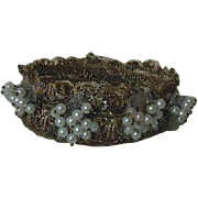 Beautiful metallic lace Crown shaped Headdress for antique french bebe or wax doll