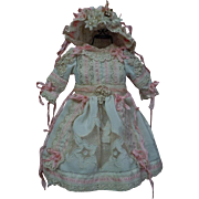"SOLD Charming taffeta Dress w/ Petticoat Bonnet for 18"" antique french Bebe Jumeau cabine"