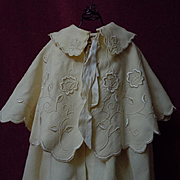 REDUCED Antique Woolen Silk Cape Bonnet  exquisite pure silk Embroidery for german french huge