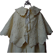 Antique Woolen Silk Cape Bonnet  exquisite pure silk Embroidery for german french huge bisque