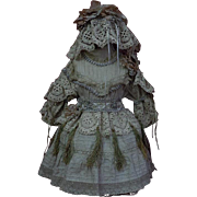 Gorgeous Batiste Dress w/ Petticoat Cap for french Bebe Jumeau doll
