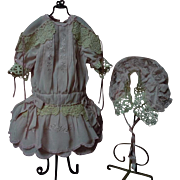 Charming Rose taffeta Dress Slip Headdress for german french bisque doll