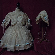 SOLD Gorgeous Old organza Dress w/ Petticoat Bonnet for german french bisque doll