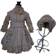 SOLD Wonderful french pique Dress w/ Petticoat Bonnet for german french bisque doll