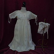 All Original Antique crepe Dress w/ Slip Headdress for german french huge bisque doll
