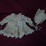 Gorgeous Old wool silk Sweater Bonnet ombre ribbon rosettes for baby compo german french bisqu