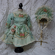 Exquisite Aquamarine Couturier Costume Dress Hat for french bebe Jumeau Steiner Bru doll
