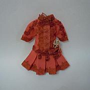 "SALE PENDING Lovely Coral silk Dress Hat  Spring ensemble for 13 - 14""  antique cabinet s"