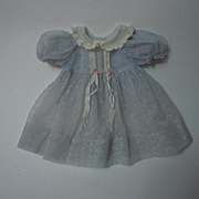 All Original Old 1940's greyish blue Organdy Dress for german composition bisque doll