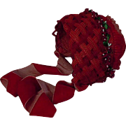 Gorgeous Braided Red soft straw doll Hat wild flowers for antique german french bisque doll