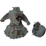Exquisite tiny french Couturier Bebe Dress Petticoat Hat for antique Bleuette sized bisque dol