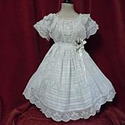 SOLD Original Antique white work batiste Dress for french bebe Jumeau Steiner doll