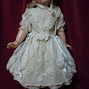 SOLD Marvelous lace insertion Taffeta Dress Petticoat and Bonnet for antique german french bis