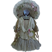 SOLD Gorgeous french Bebe Couturier Dress Hat Dream-catcher Lace silk doll Costume
