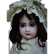 """SOLD Beautiful Antique 25"""" French bisque Bebe Jumeau Doll Deep blue glass paperweight eye"""