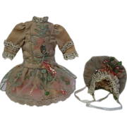 """SOLD Gorgeous french Bebe Tiny Dress Hat Lace silk doll Costume for 11/12"""" doll - Red Tag"""