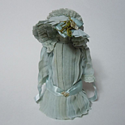 SOLD Beautiful old aquamarine muslin Dress Petticoat Hat for german french bisque tiny doll