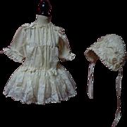 SOLD Exquisite Antique pure silk Dress Bonnet Set for french bebe Jumeau Steiner Bru doll