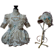 SOLD Gorgeous lace insertion Taffeta Dress Bonnet for antique german french bisque doll