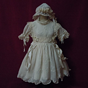 SOLD Exquisite Antique Classic white work Muslin Dress Bonnet Petticoat for french bebe Jumeau