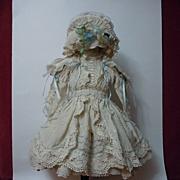 SOLD Gorgeous Taffeta Dress Bonnet Capelet for antique french Bebe doll