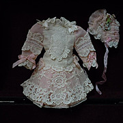 """SOLD Exquisite french Bebe Tiny Dress Hat Couturier Costume for 11/13"""" doll"""