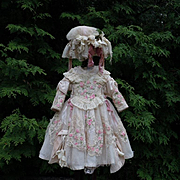 SOLD Exquisite Couturier Costume 3 pcs for antique french Bebe Jumeau Steiner Bru doll