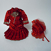SOLD Gorgeous deep red velvet tiny french Bebe Dress Hat for antique Bleuette sized bisque dol