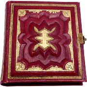 Antique 1850s Tintype Miniature Embossed Red Leather 44 Photos Photo Album