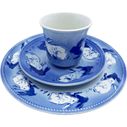 K & G Luneville France Blue White Bunny Rabbit Childs Cup Saucer Plate Set