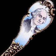Antique Sterling Silver Enamel George Washington US Capitol Souvenir Spoon