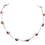 Vintage Los Castillo Taxco Mexico Mexican Sterling Silver Carnelian Necklace