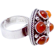 Vintage Carmen Beckmann Taxco Mexican Sterling Silver Fire Opal Ring