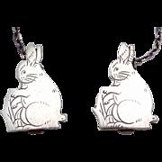 Vintage Webster Sterling Silver Rabbit Bunny Sweater Bib Clip Clips