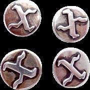 Vintage La Cucaracha Taxco Mexico Mexican 980 Silver Group of 4 X Buttons