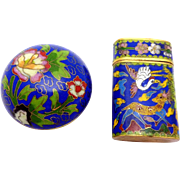 Vintage Japanese Japan Chinese Cloisonne Brass Snuff Trinket Box Pair