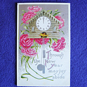 SOLD Antique NEW YEAR Cuckoo Clock & Carnation Postcard