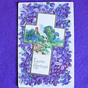 Gorgeous EASTER Antique Cross & Violets Estate Postcard