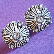 Gorgeous CELLULOID & RHINESTONE Vintage Estate Clip Earrings
