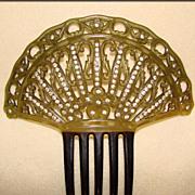 Fabulous Large Antique Celluloid & Rhinestone Hair Comb