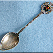 Gorgeous 835 SILVER & ENAMEL Germany Souvenir Vintage Estate Spoon